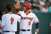 Harrisburg Senators first baseman Jose Marmolejos (3) high fives teammates during a game against the Bowie Baysox on May 16, 2017 at FNB Field in Harrisburg, Pennsylvania.  Bowie defeated Harrisburg 6-4.  (Mike Janes/Four Seam Images)