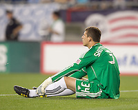 New England Revolution goalkeeper Bobby Shuttleworth (34) after Philadelphia scores winning goal late in the match. The Philadelphia Union defeated New England Revolution, 2-1, at Gillette Stadium on August 28, 2010.