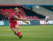 June 4th 2017, AJ Bell Stadium, Salford, Greater Manchester, England;  Rugby Super League Salford Red Devils versus Wakefield Trinity;  Logan Tomkins of Salford passes the ball along the line