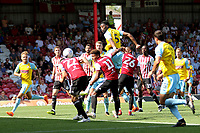Semi Ajayi of Rotherham heads the ball towards the Brentford goal during Brentford vs Rotherham United, Sky Bet EFL Championship Football at Griffin Park on 4th August 2018
