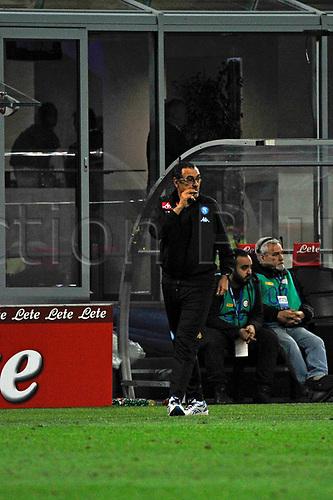 April 30th 2017, San Siro Stadium, Milan, Italy;  Maurizio Sarri head coach of Napoli gestures during the Serie A football match, Inter Milan versus Napoli;