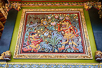 Jatiluwih, Bali, Indonesia.  Scene from Hindu Mythology Decorating Temple Wall, Luhur Bhujangga Waisnawa Hindu Temple.