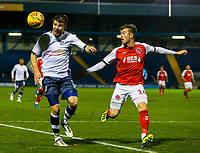 Bury's Chris Stokes holds off the challenge from Fleetwood Town's Chris Long<br /> <br /> Photographer Alex Dodd/CameraSport<br /> <br /> The EFL Checkatrade Trophy Group B - Bury v Fleetwood Town - Tuesday 13th November 2018 - Gigg Lane - Bury<br />  <br /> World Copyright &copy; 2018 CameraSport. All rights reserved. 43 Linden Ave. Countesthorpe. Leicester. England. LE8 5PG - Tel: +44 (0) 116 277 4147 - admin@camerasport.com - www.camerasport.com