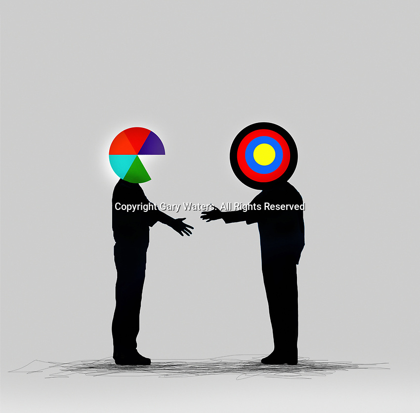 Pie chart businessman shaking hands with target businessman