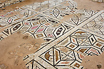 Travel stock photo of Remains of ancient mosaic floor ornament at Roman Agora The Archaeological Site of Kourion Roman period in Cyprus Spring 2007 Horizontal