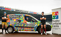 Picture by Allan McKenzie/SWpix.com - 15/05/2017 - Rugby League - Dacia Magic Weekend 2017 Preview - St James Park, Newcastle, England - Lee Mossop, Tom Gilmore & Stefan Ratchford with Oddballs and Rugby League Cares,