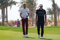 Thomas Detry (BEL) and Brooks Koepka (USA) on the 9th during Round 4 of the Saudi International at the Royal Greens Golf and Country Club, King Abdullah Economic City, Saudi Arabia. 02/02/2020<br /> Picture: Golffile | Thos Caffrey<br /> <br /> <br /> All photo usage must carry mandatory copyright credit (© Golffile | Thos Caffrey)