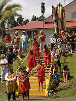 Community gathers around Kamehameha stature, King Kamehameha Day Parade, North Kohala, Kapa'au town.