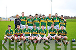 The first 15 of the Kerry minor hurling team who played Tipp in the Nolan Cup on Saturday at Abbeydorney GAA Grounds, on Saturdayu. FRont l-r: Jack Goulding, Jordan Brick, Jordan Conway, Joe Diggin, Michael Lynch, Finan O'Sullivan and Stephen O'Sullivan. Back l-r: Stephen Murphy, Mike O'Leary, Jamie Barrett, Darragh Shanahan, Jason Diggins, Brendan BarrettFinan Mackessy and Aidren McCarthy.