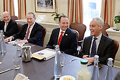 Incoming White House chief of staff Reince Priebus(C) is joined by Formers White House Chief of Staff William Daily (L) , Samuel Knox Skinner (2-L) and Rahm Emanuel (R) during a meeting in the Chief of Staff office of the White House in Washington, DC, December 16, 2016.  <br /> Credit: Olivier Douliery / Pool via CNP