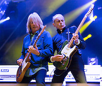 Photo by &copy;Stephen Daniels 2014<br /> Status Quo Rick Parfitt, Francis Rossi on Stage Holkham Hall, Norfolk