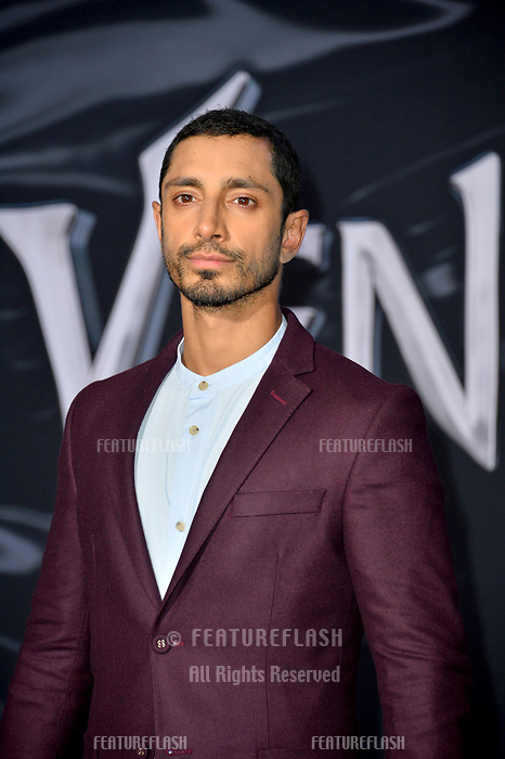"LOS ANGELES, CA. October 01, 2018: Riz Ahmed at the world premiere for ""Venom"" at the Regency Village Theatre.<br /> Picture: Paul Smith/Featureflash"