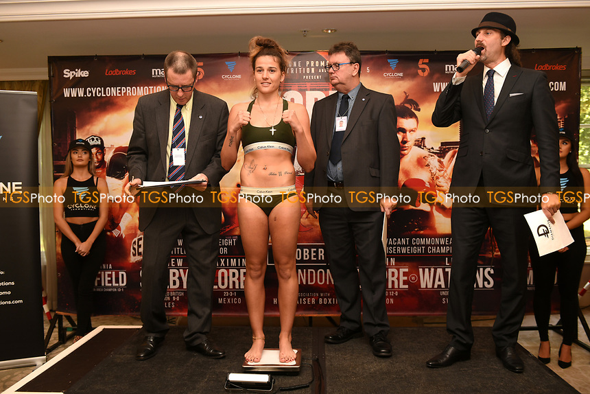 Chantelle Cameron on the scales during a Cyclone Promotions Weigh-In at the Grosvenor House Hotel on 6th October 2017