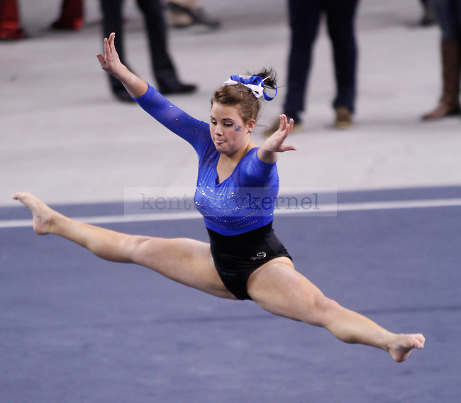 Sophomore Audrey Harrison performs her floor routine at UK Women's Gymnastics against University of Alabama at Memorial Coliseum in Lexington, Ky., on Friday, Feb. 10, 2012. Photo by Tessa Lighty | Staff