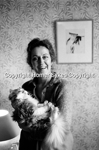 Germaine Greer, at home London 1980s. <br />