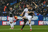 Bolton Wanderers' Dorian Dervite competing with Fulham's Kevin McDonald<br /> <br /> Photographer Andrew Kearns/CameraSport<br /> <br /> The EFL Sky Bet Championship - Bolton Wanderers v Fulham - Saturday 10th February 2018 - Macron Stadium - Bolton<br /> <br /> World Copyright &copy; 2018 CameraSport. All rights reserved. 43 Linden Ave. Countesthorpe. Leicester. England. LE8 5PG - Tel: +44 (0) 116 277 4147 - admin@camerasport.com - www.camerasport.com