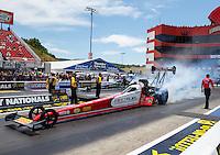 Jun 19, 2016; Bristol, TN, USA; NHRA top fuel driver Shawn Langdon during the Thunder Valley Nationals at Bristol Dragway. Mandatory Credit: Mark J. Rebilas-USA TODAY Sports