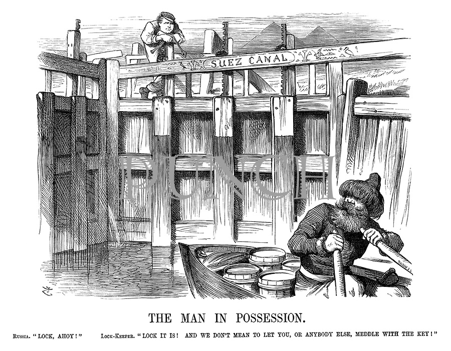"""The Man in Possession. Russia. """"Lock, ahoy!"""" Lock-keeper. """"Lock it is! And we don't mean to let you, or anybody else, meddle with the key!"""""""