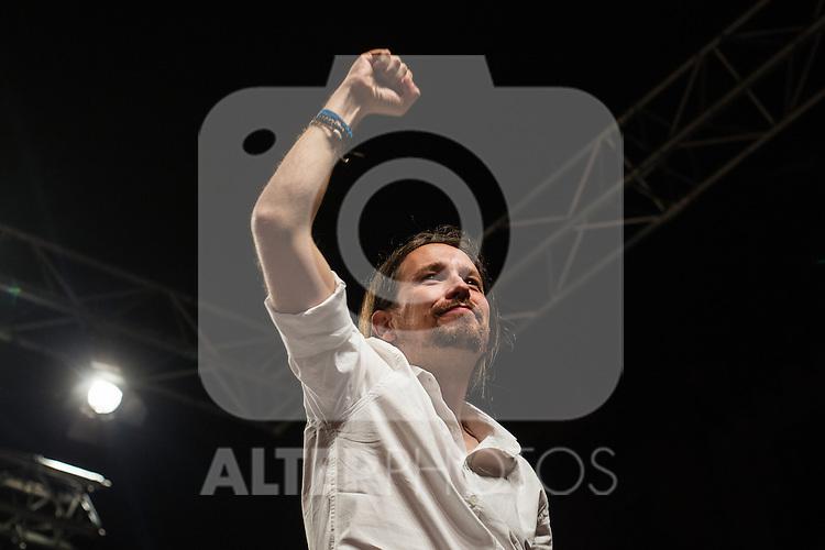 Spanish politician Pablo Iglesias, leader of Unidos Podemos party, after the results of the national elections at plaza Reina Sofia, Spain. 26,06,2016. (ALTERPHOTOS/Rodrigo Jimenez)