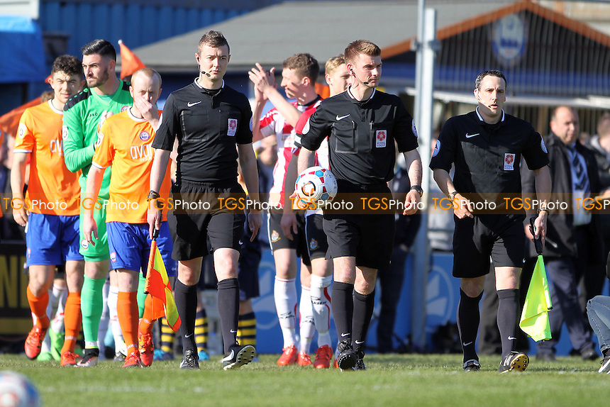 The teams come out during Braintree Town vs Altrincham, Vanarama National League Football at the Avanti Stadium on 30th April 2016