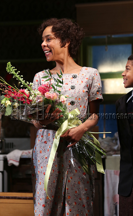 """Sophie Okonedo during the Broadway Opening Night Curtain Call for  """"A Raisin In The Sun""""  at the Barrymore Theatre on April 3, 2014 in New York City."""