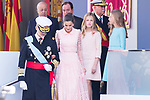 (L to R) King Felipe VI, Queen Letizia, Princess of Asturias Leonor and Infanta Sofia during the Military parade because of the Spanish National Holiday. October 12, 2019.. (ALTERPHOTOS/ Francis Gonzalez)