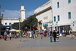 Cafes and people walking, Place Moulay Hassan, Essaouira, Morocco