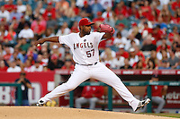 Jerome Williams #57 of the Los Angeles Angels pitches against the St. Louis Cardinals at Angel Stadium on July 3, 2013 in Anaheim, California. (Larry Goren/Four Seam Images)
