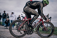 John Degenkolb (DEU/Trek-Segafredo) wearing the marks of an earlier crash<br /> <br /> Team Trek-Segafredo during parcours recon of the 116th Paris-Roubaix 2018, 3 days prior to the race