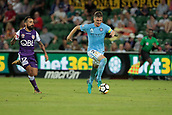 9th January 2018, nib Stadium, Perth, Australia; A League football, Perth Glory versus Melbourne City; Michael Jakobsen Melbourne City Defender runs with the ball ahead of Diego Castro of the Perth Glory