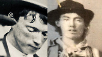 BNPS.co.uk (01202 558833)<br /> Pic: SofeDesignAuctions/BNPS<br /> <br /> The tin type (left) is similar to the only other known image of Billy (right) taken in 1879.<br /> <br /> $1million tin type...<br /> <br /> Hands Up...if you want to buy this almost unique photograph of notorious gunman Billy the Kid.<br /> <br /> A remarkable photograph showing wild west gunman Billy the Kid (2nd left) playing cards with his gang has emerged for sale for almost £800,000.<br /> <br /> The black and white wet collodion tin type image is thought to dates back to around 1877 and is only the second confirmed image of the notorious American outlaw to be known of.<br /> <br /> It shows him wearing a top hat sat around a table with three members of his gang - L-r Richard Brewer, Fred Waite and Henry Brown - all of whom were wanted men.