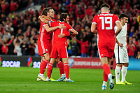 Gareth Bale of Wales celebrates scoring the opening goal with team mates during the UEFA Euro 2020 Qualifier match between Wales and Azerbaijan at the Cardiff City Stadium in Cardiff, Wales, UK. Friday 06, September 2019