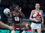 Fast5 2017<br /> Fast 5 Netball World Series<br /> Hisense Arena Melbourne<br /> Match <br /> England v Malawi<br /> <br /> Thandie Galeta<br /> <br /> <br /> Photo: Grant Treeby