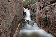"A section of a rocky gorge just above the ""other"" Pitcher Falls on the South Fork of the Hancock Branch in Lincoln, New Hampshire. This brook is located near the Kancamagus Highway in the White Mountains, New Hampshire."