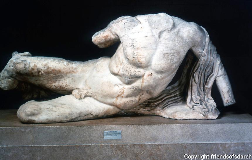 Greek Art:  Parthenon Sculpture, West Pediment.  Perhaps one of the river-gods, Cephisus or Illissus.  Trustees of the British Museum.