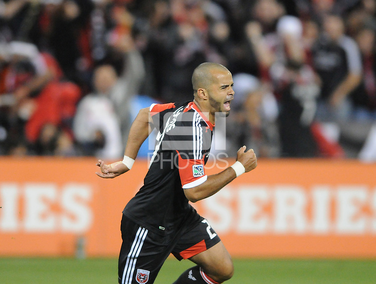 D.C. United forward Maicon Santos (29) celebrates his first goal of the game in the 28th minute of the game. D.C. United defeated FC Dallas 4-1 at RFK Stadium, Friday March 30, 2012.