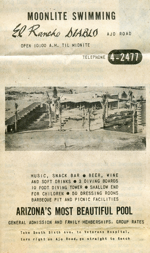 This is a piece of literature from the former El Rancho Diablo, west of Tucson, near Ryan Field. This is a July 28, 1976 file photo.