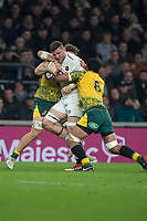 Twickenham, United Kingdom, Saturday, 24th  November 2018, RFU, Rugby, Stadium, England, England's No 8, Marlk, WILSON, tackled, during the Quilter Autumn International, England vs Australia, © Peter Spurrier