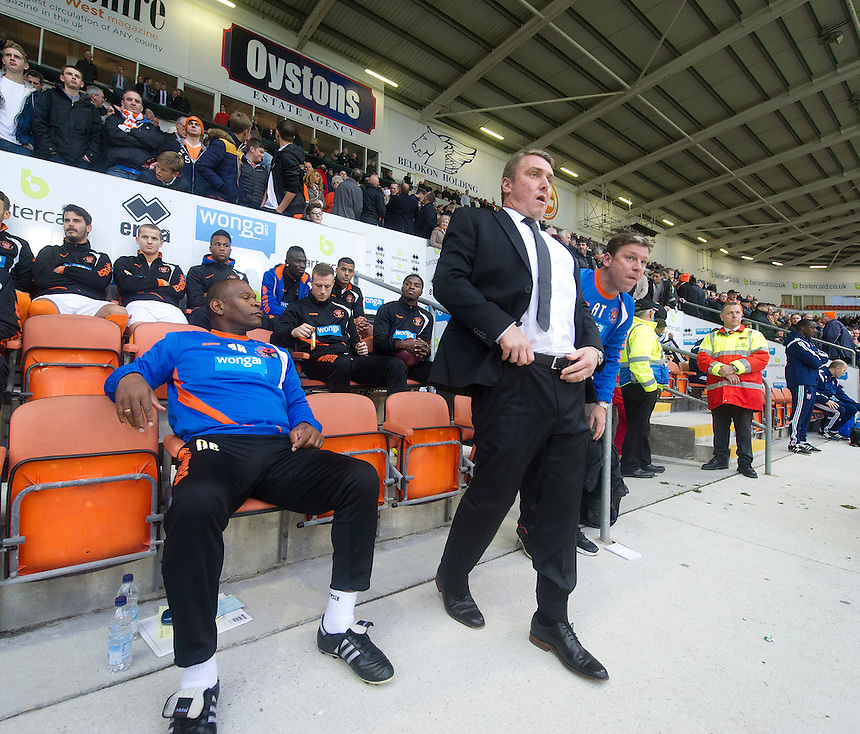 Blackpool manager Lee Clark in charge of his first match of his new club takes his place in the dugout before the kick off<br /> <br /> Photographer Stephen White/CameraSport<br /> <br /> Football - The Football League Sky Bet Championship - Blackpool v Ipswich Town - Saturday 1st November 2014 - Bloomfield Road - Blackpool<br /> <br /> &copy; CameraSport - 43 Linden Ave. Countesthorpe. Leicester. England. LE8 5PG - Tel: +44 (0) 116 277 4147 - admin@camerasport.com - www.camerasport.com