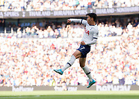 Son Heung-Min of Tottenham Hotspur celebrates scoring during the Premier League match between Tottenham Hotspur and Crystal Palace at Wembley Stadium, London, England on 14 September 2019. Photo by Vince  Mignott / PRiME Media Images.