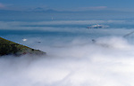 Golden Gate Bridge and San Francisco Bay in fog from Marin Hills. The Golden Gate connects San Francisco penninsula and Marin penninsula and is nearly two miles long,  San Francisco, California USA