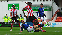 Lincoln City's John Akinde is tackled by Crewe Alexandra's George Ray<br /> <br /> Photographer Chris Vaughan/CameraSport<br /> <br /> The EFL Sky Bet League Two - Lincoln City v Crewe Alexandra - Saturday 6th October 2018 - Sincil Bank - Lincoln<br /> <br /> World Copyright &copy; 2018 CameraSport. All rights reserved. 43 Linden Ave. Countesthorpe. Leicester. England. LE8 5PG - Tel: +44 (0) 116 277 4147 - admin@camerasport.com - www.camerasport.com