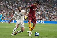 Uefa Champions League football match Real Madrid vs AS Roma at the Santiago Bernabeu stadium in Madrid on September 19, 2018.<br /> <br /> Carvajal: Perotti