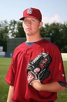 June 24, 2009:  Pitcher Clayton Cook (33) of the Mahoning Valley Scrappers poses for a photo before a game at Eastwood Field in Niles, OH.  The Mahoning Valley Scrappers are the NY-Penn League Short Season Class-A affiliate of the Cleveland Indians.  Photo by:  Mike Janes/Four Seam Images