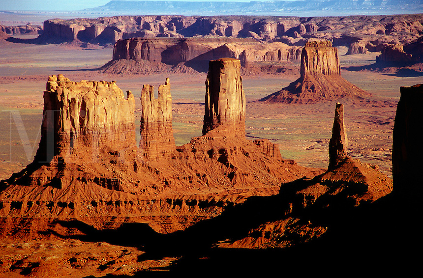 Columns of rock survive the erosion of the plateau which occupied the area of Monument Valley Navajo Tribal Park