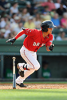 Shortstop Tzu-Wei Lin (36) of the Greenville Drive in a game against the Lexington Legends on Sunday, April 27, 2014, at Fluor Field at the West End in Greenville, South Carolina. Lin is the No. 28 prospect of the Boston Red Sox, according to Baseball America. Greenville won, 21-6. (Tom Priddy/Four Seam Images)