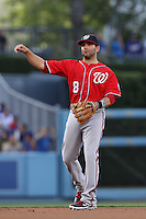 Danny Espinosa #8 of the Washington Nationals during a game against the Los Angeles Dodgers at Dodger Stadium on April 28, 2012 in Los Angeles,California. Los Angeles defeated Washington 4-3.(Larry Goren/Four Seam Images)