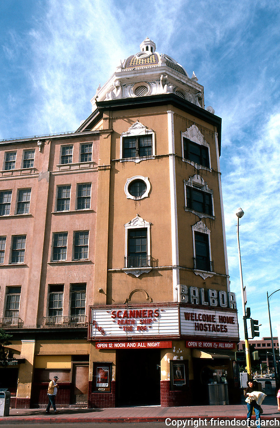 San Diego: Balboa Theater. William Wheeler, 1924. 868 4th Ave. Mission Spanish Revival. NRHP 1996. Reopened in 2008 after restoration. Photo '81.