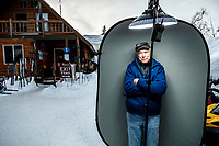 Carl Dixon, FACES, in the morning at Finger Lake checkpoint during the 2019 Iditarod.<br /> <br /> Photo by Jeff Schultz/  (C) 2019  ALL RIGHTS RESERVED