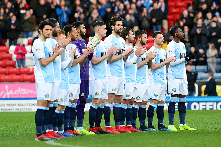 The Blackburn Rovers players acknowledge a minutes applause in honour of fans who died in 2018 <br /> <br /> Photographer Richard Martin-Roberts/CameraSport<br /> <br /> The EFL Sky Bet Championship - Blackburn Rovers v West Bromwich Albion - Tuesday 1st January 2019 - Ewood Park - Blackburn<br /> <br /> World Copyright © 2019 CameraSport. All rights reserved. 43 Linden Ave. Countesthorpe. Leicester. England. LE8 5PG - Tel: +44 (0) 116 277 4147 - admin@camerasport.com - www.camerasport.com